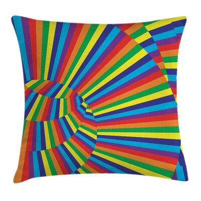Fabric Rainbow Circles Square Pillow Cover Size: 24 x 24
