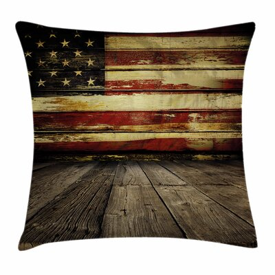 United States Vintage Flag Wood Square Pillow Cover Size: 16 x 16
