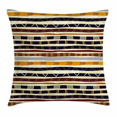 Tribal Ethnic African Trippy Square Pillow Cover Size: 16 x 16