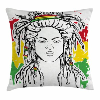 Rasta Grunge Flag Colors Reggae Square Pillow Cover Size: 18 x 18
