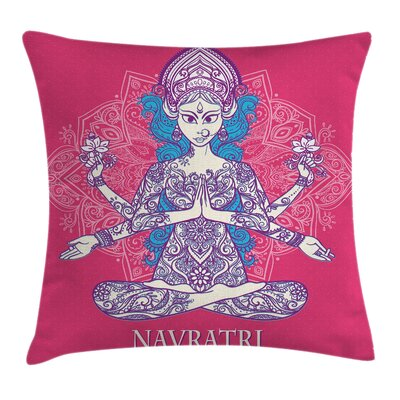 Yoga Mandala Indian Girl Square Pillow Cover Size: 18 x 18