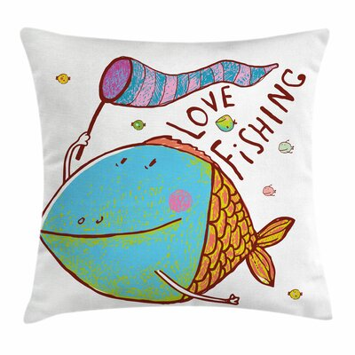 Fish For Kids Funny Cartoon Square Pillow Cover Size: 16 x 16