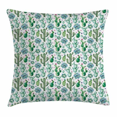 Cactus Decor Exotic Collection Square Pillow Cover Size: 18 x 18