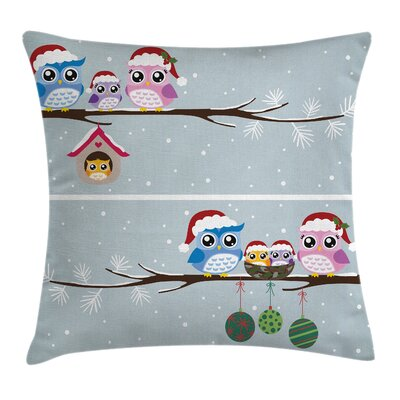 Owl Owls with Santa Hats Square Pillow Cover Size: 18 x 18