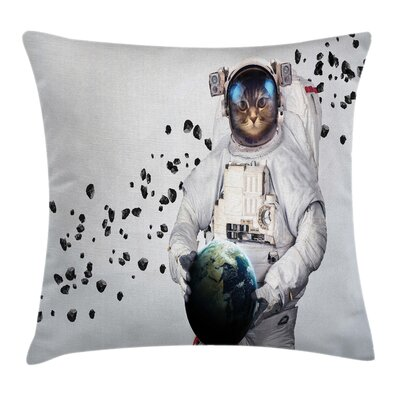 Space Cat World Galaxy Clusters Square Pillow Cover Size: 16 x 16