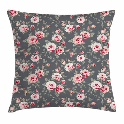 Shabby Elegance Decor Rural Buds Square Pillow Cover Size: 16 x 16