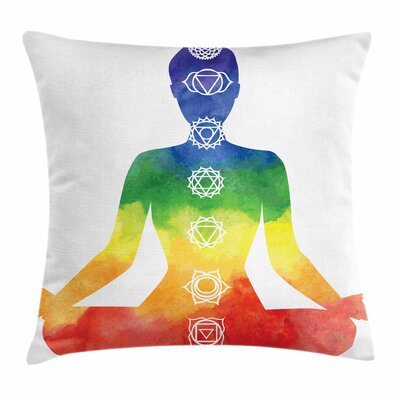 Yoga Woman with Chakra Symbols Square Pillow Cover Size: 24 x 24