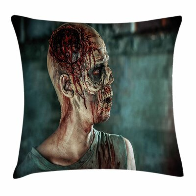 Zombie Decor Shot in Head Dead Square Pillow Cover Size: 18 x 18
