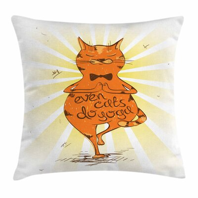 Yoga Peaceful Cat with Phrase Square Pillow Cover Size: 16 x 16