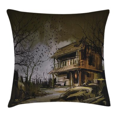 Rustic Wooden Haunted House Square Pillow Cover Size: 24 x 24