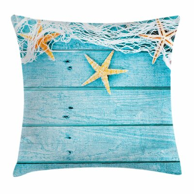 Starfish Decor Rustic Fish Net Square Pillow Cover Size: 18 x 18