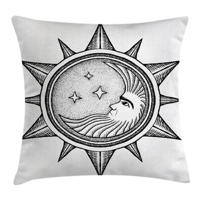 Artsy Moon with Stars in Sun Square Pillow Cover Size: 20 x 20