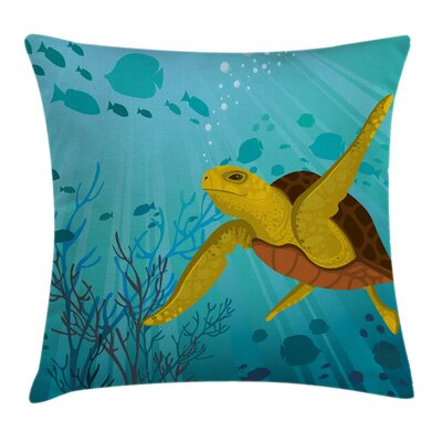 Cute Cartoon Turtle Coral Square Pillow Cover Size: 18 x 18