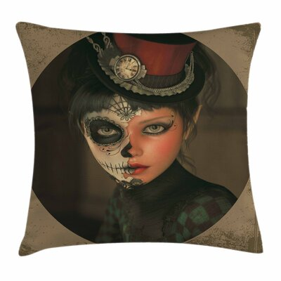 Sugar Skull Antique Portrait Square Pillow Cover Size: 18 x 18