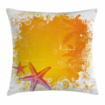 Starfish Decor Exotic Flowers Square Pillow Cover Size: 16 x 16