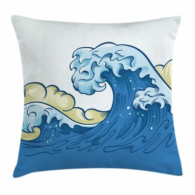 Japanese Wave Cartoon Ocean Square Pillow Cover Size: 18 x 18