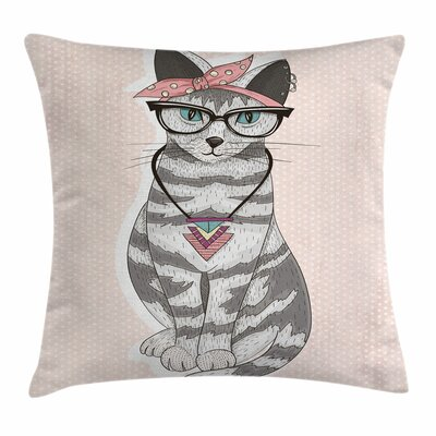 Stylish Kitty Square Pillow Cover Size: 18 x 18