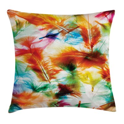 Fabric Case Puffy Feathers Square Pillow Cover Size: 20 x 20