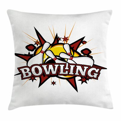 Bowling Cartoon Retro Crash Square Pillow Cover Size: 24 x 24
