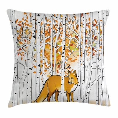 Fox Autumn Forest Square Pillow Cover Size: 16 x 16