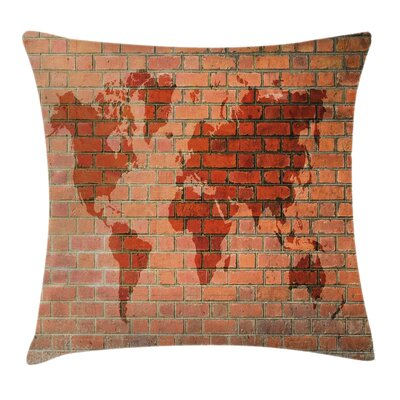 World Map on Brick Wall Square Pillow Cover Size: 18 x 18