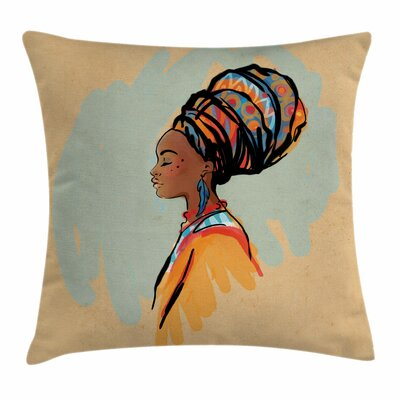 African Woman Artistic Profile Square Pillow Cover Size: 18 x 18