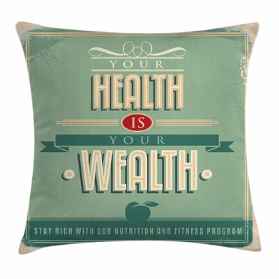 Fitness Vintage Inspirational Square Pillow Cover Size: 16 x 16