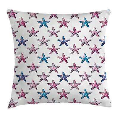 Starfish Decor Doodle Wildlife Square Pillow Cover Size: 24 x 24