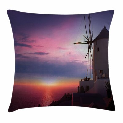 Windmill Decor Greek Village Square Pillow Cover Size: 16 x 16
