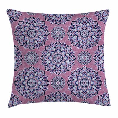 Purple Mandala Oriental Lines Square Pillow Cover Size: 18 x 18
