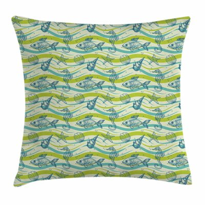 Starfish Decor Waves Bubbles Square Pillow Cover Size: 18 x 18
