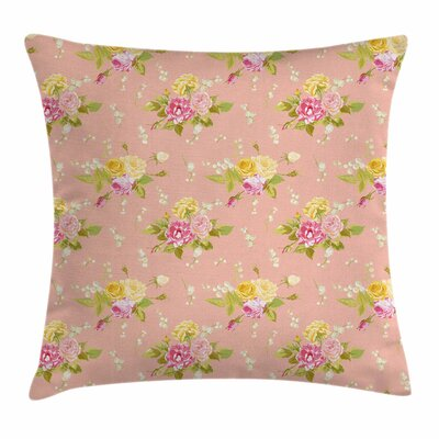Shabby Elegance Decor Bridal Roses Square Pillow Cover Size: 18 x 18