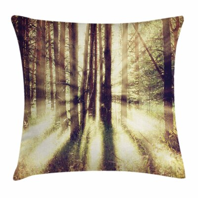 Forest Vibrant Woodland Sun Square Pillow Cover Size: 24 x 24