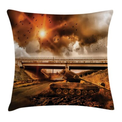 Camo Dark Clouds War Area Square Pillow Cover Size: 24 x 24