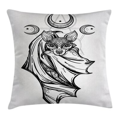 Bat with Moons Spiritual Square Pillow Cover Size: 16 x 16