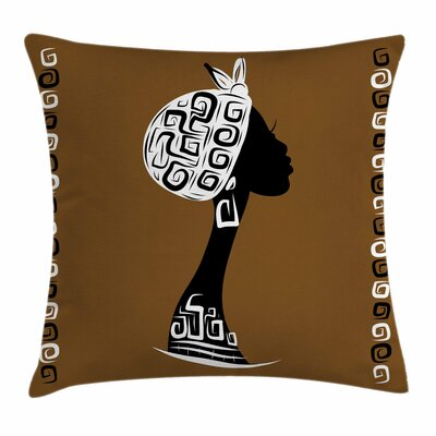 African Woman Stylish Female Square Pillow Cover Size: 16 x 16