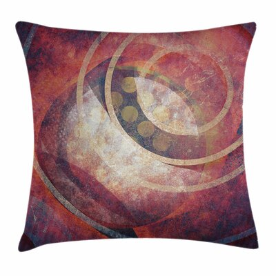 Antique Decor Grunge Circles Square Pillow Cover Size: 24 x 24