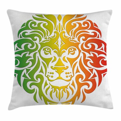 Rasta Colorful Lion Portrait Square Pillow Cover Size: 18 x 18