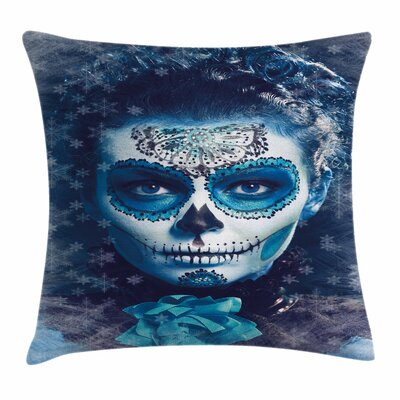 Sugar Skull Frozen Dead Folk Square Pillow Cover Size: 18 x 18