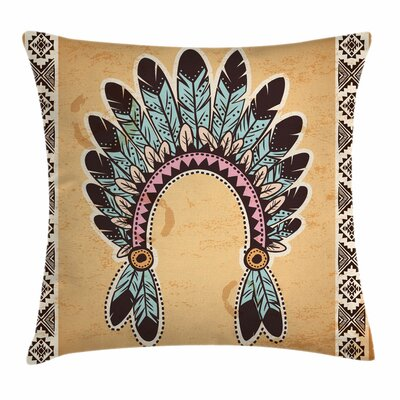 Folkloric Aztec Headband Square Pillow Cover Size: 24 x 24