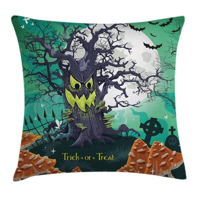 Halloween Decor Spooky Tree Square Pillow Cover Size: 24 x 24