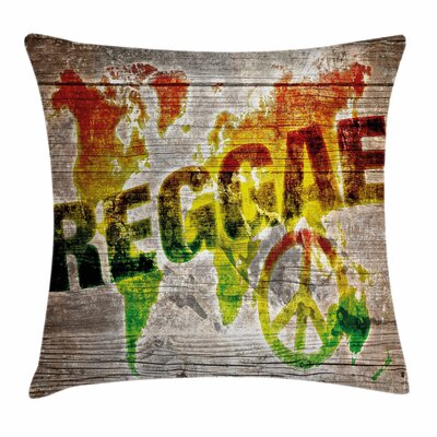 Rasta World Map Reggae Quote Square Pillow Cover Size: 20 x 20