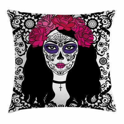 Sugar Skull Girl with Make Up Square Pillow Cover Size: 16 x 16