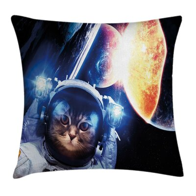 Space Cat Supernova Eclipse Square Pillow Cover Size: 18 x 18