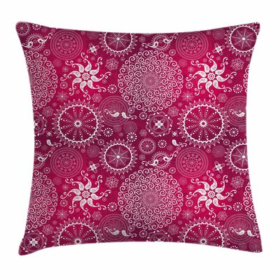 Purple Mandala Anatolian Flower Square Pillow Cover Size: 16 x 16