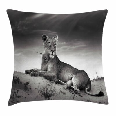 Wild Lioness Square Pillow Cover Size: 16 x 16