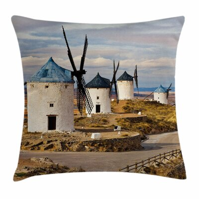 Windmill Decor Medieval Spain Square Pillow Cover Size: 16 x 16