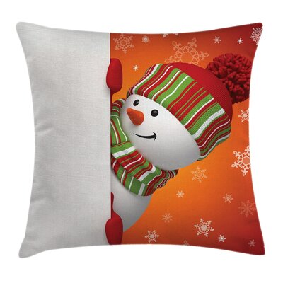 Christmas Funny Snowman Santa Square Pillow Cover Size: 18 x 18