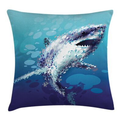 Shark Oceanlife Animal Square Pillow Cover Size: 24 x 24