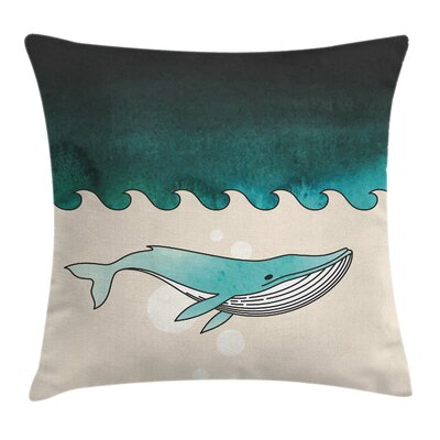 Whale Fish Swimming Submarine Square Pillow Cover Size: 18